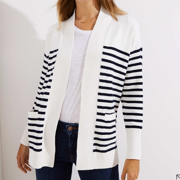 bf9e08220c LOFT Striped Open Pocket Knit Cardigan White Navy